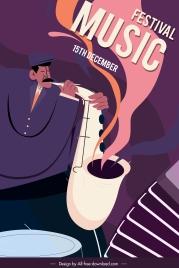 music festive banner trumpet player sketch classic design