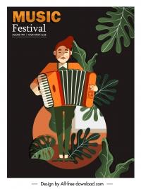 music festive poster accordion player sketch dark classic