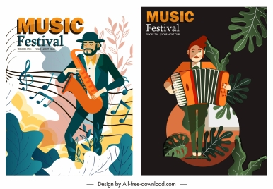 music festive posters instruments players sketch