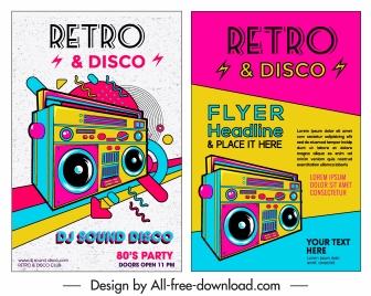 music flyer template colorful retro design cassette icon