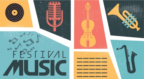music instrument icons colorful retro style