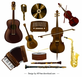 music instruments icons colored flat 3d sketch