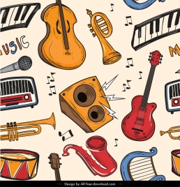 music instruments pattern colorful classical design