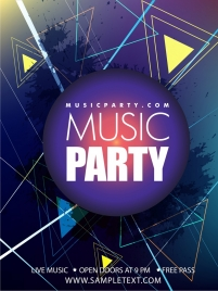 music party background triangles grunge ornament