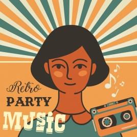 music party banner girl cassette icons retro design