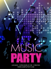 music party banner singers silhouettes music notes icons