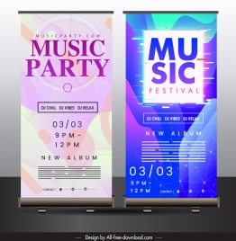 music party poster colorful modern decor vertical standee