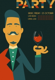 music party poster male winelgass icon cartoon character