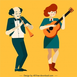 music performer icons colored cartoon characters
