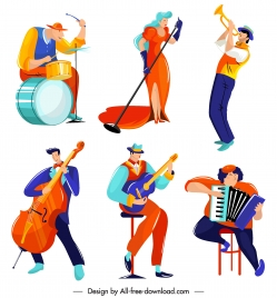 music player icons colorful cartoon characters sketch