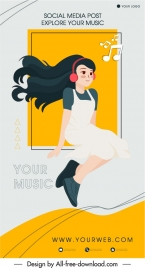 music poster template cute girl musical notes sketch