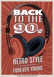 music poster template headphone sketch retro design