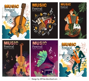 music poster templates classical colorful instruments players decor