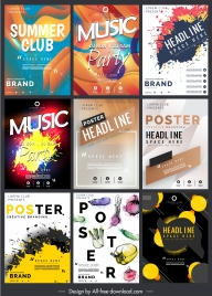 music poster templates modern colorful dynamic grunge decor
