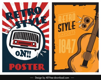 music poster templates radio guitar sketch retro design