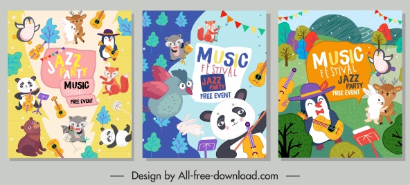 music posters colorful cute animals eventful design