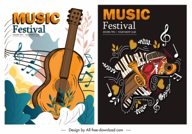 music posters templates colorful retro decor instruments sketch