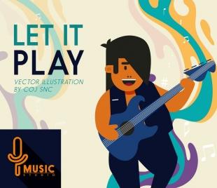music studio advertising man playing guitar icon