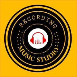 music studio logo round black design headphone icon