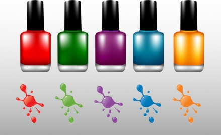 nail paint bottles advertisement shiny colorful decoration
