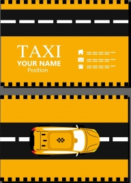 name card template black yellow decor car icon