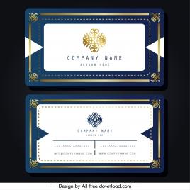 name card template elegant blue white symmetric border