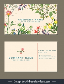 name card template nature theme colorful classical design