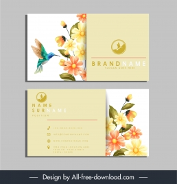 name card template nature theme floral birds decor