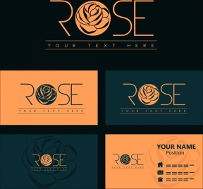 name card template rose logotype design