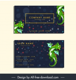name card template western dragon icon bokeh decor