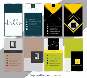 name card templates colored texts geometric abstract decor
