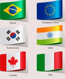 national flags icons modern shiny colored 3d design