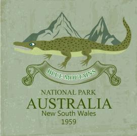 national park advertisement crocodile icon colored retro design