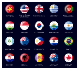 nations flags design on round icons