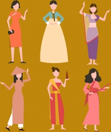nations women icons traditional costumes design cartoon characters
