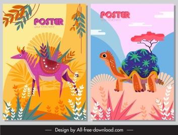 natural animals posters colorful design reindeer turtle sketch
