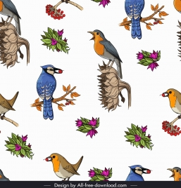 natural birds pattern colorful bright decor