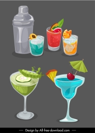 natural drinks icons cocktails sketch handdrawn retro