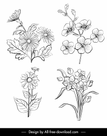 natural flowers icons black white handdrawn outline