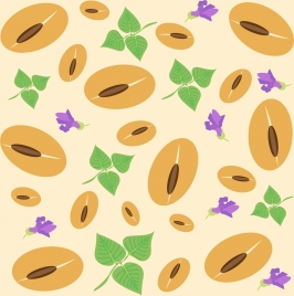 natural food background repeating soybean leaf flower icons