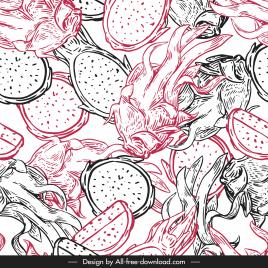 natural food pattern dragon fruit sketch classic handdrawn