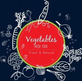 natural food promotion background vegetable icons handdrawn sketch