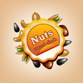 natural foods advertisement various nuts icons circle label