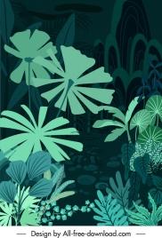 natural forest background dark green design leaves sketch