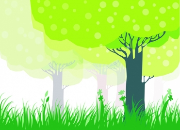 natural forest background green trees and grass decoration