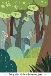 natural forest painting colorful classical flat sketch
