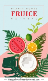 natural fruits background colorful flat classic design