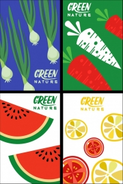natural fruits background colorful flat decor