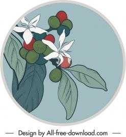 natural fruits label template retro design handdrawn sketch