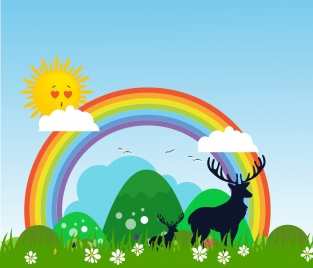 natural landscape background reindeer silhouette rainbow sun icons